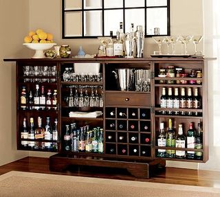 Eventually You Fill All Of Your Kitchen Cabinets And Need To Start Storing Bottles In The Living Room Which Is Where This Modine Bar From Pottery Barn