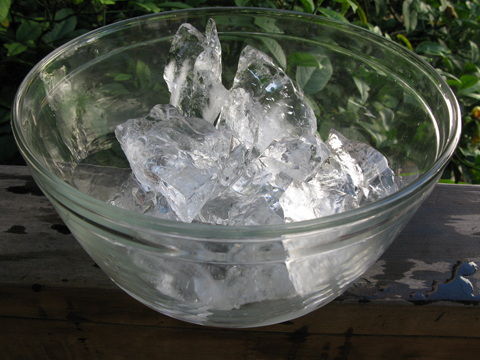 a bowl of very clear ice