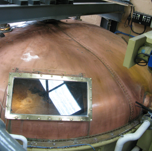 Fettercairn distillery copper top mash tunss