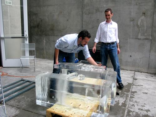 Andrew erik cutting giant ice block