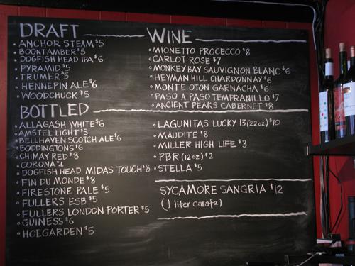 Sycamore menus
