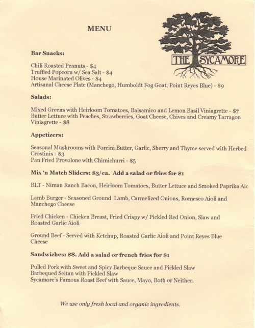 Sycamore food menu