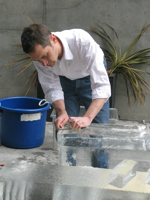 Erik measuring ice block