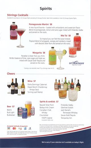 Usair drink menu oct nov 2010