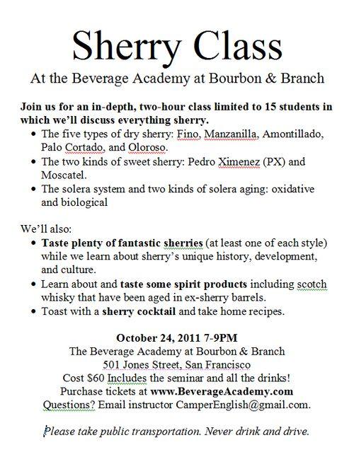 Sherry Class Flier