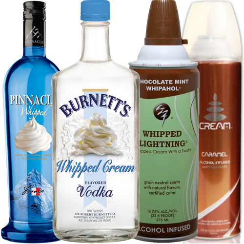 Four alcoholic whipped creams