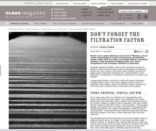 Filtration in Spirits Diffords