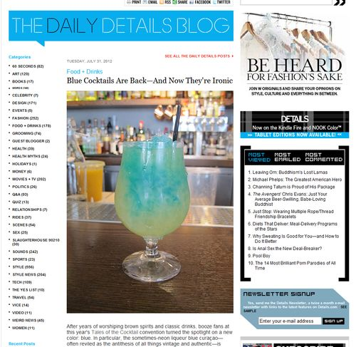 Details Blue Cocktails Story