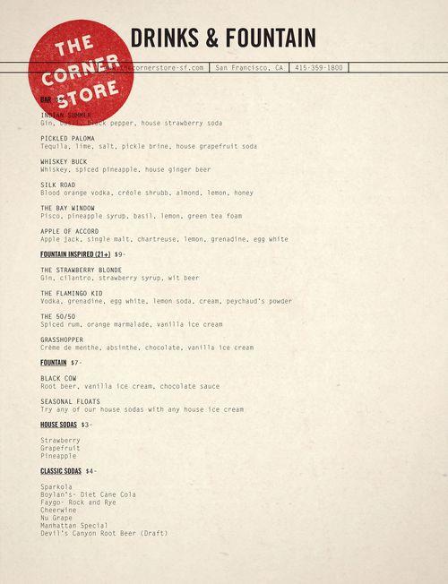 Corner store menu