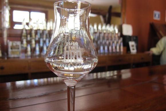 Vinas de Oro Pisco Distillery Peru glass