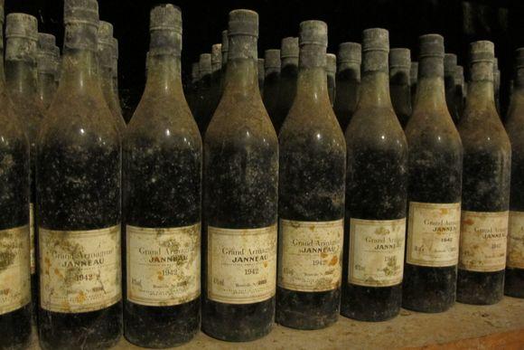 Old bottles Armagnac Janneau