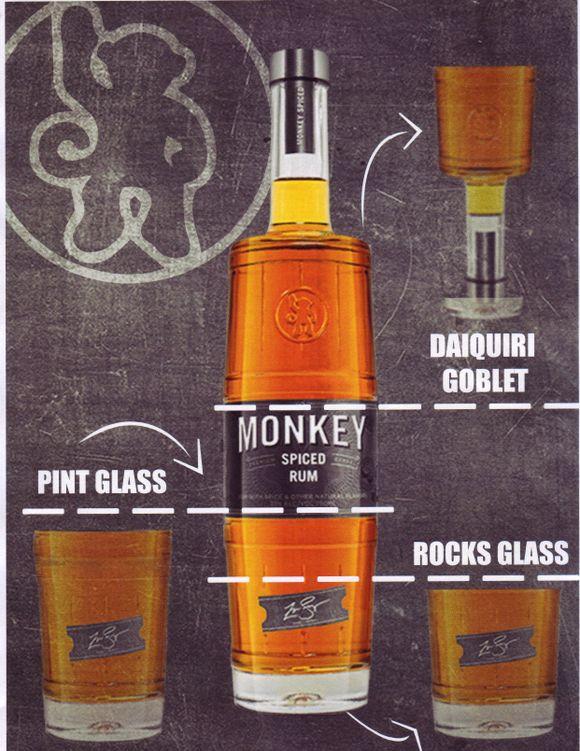 Monkey rum glass