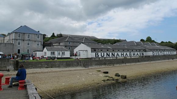 Bunnahabhain Distillery Islay Scotland from pier
