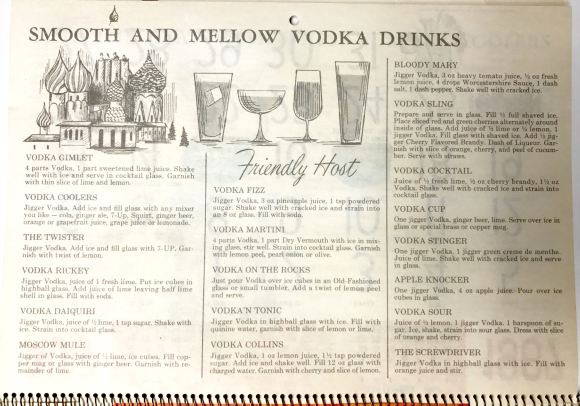 Vodka drinks from 1967 calendar
