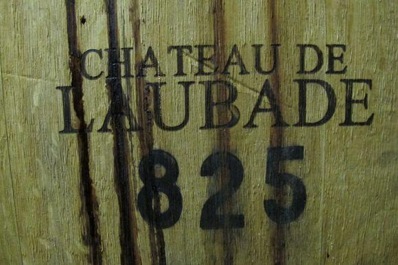 Cellar master filling barrels Chateau de Laubade Armagnac