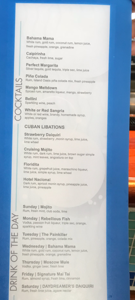 Pool Bars Menu
