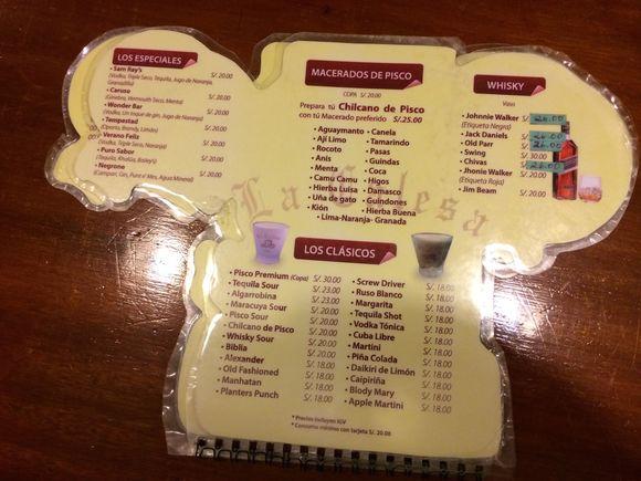 La Calesa Restaurant Lima Peru Menu
