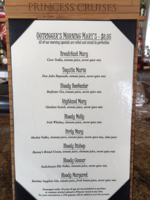 Outrigger Drink Menu