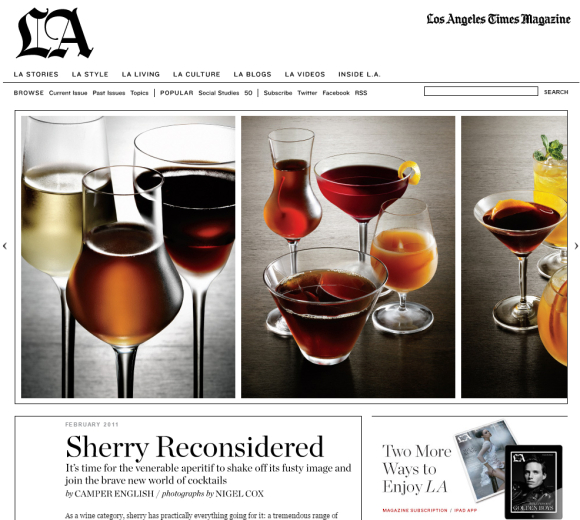 Sherry in LA Times Magazine