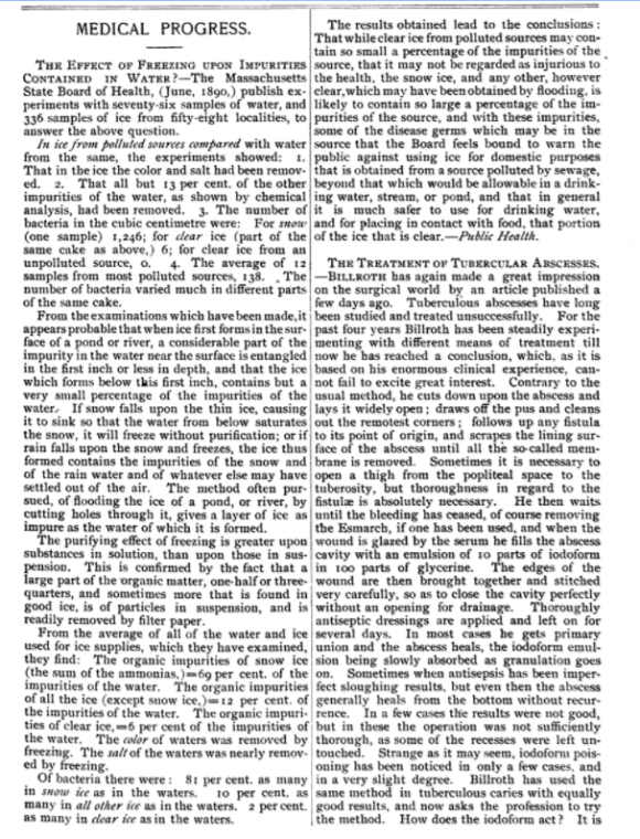 JAMA 1890 clear ice more healthy than water