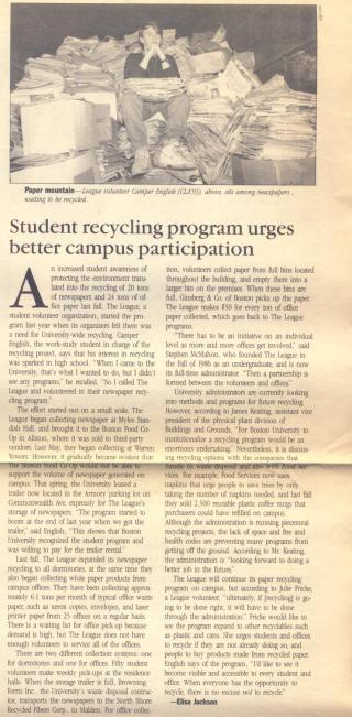 Camper English Recycling Program Boston University